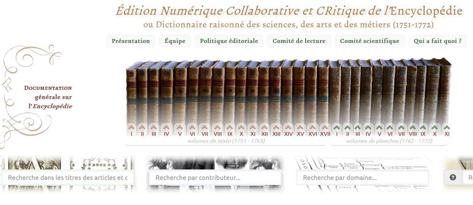 ENCCRE : Édition Numérique Collaborative et CRitique de l'Encyclopédie